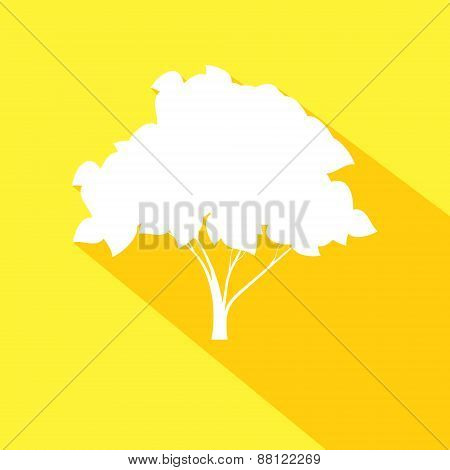 Tree flat icon with long shadow effect in stylish colors of web design objects. Isolated on yellow b
