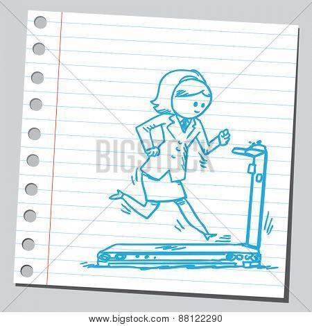Businesswoman jogging on treadmill