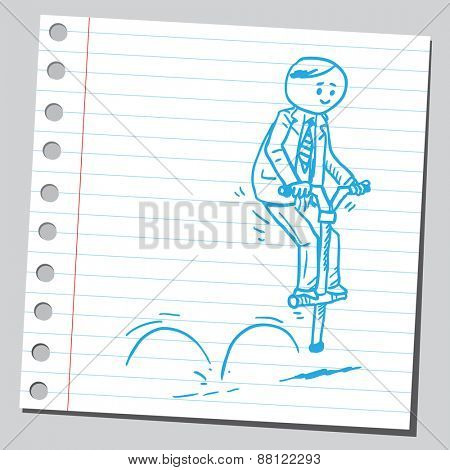 Businessman bouncing on pogo stick
