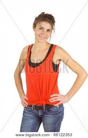Casual brunette smiling at camera shot in studio