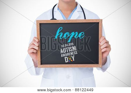 The word hope and doctor showing little blackboard against autism awareness day