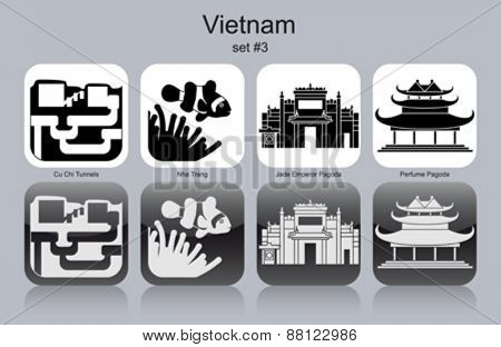 Landmarks of Vietnam. Set of monochrome icons. Editable vector illustration.
