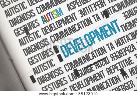 The word development against open book