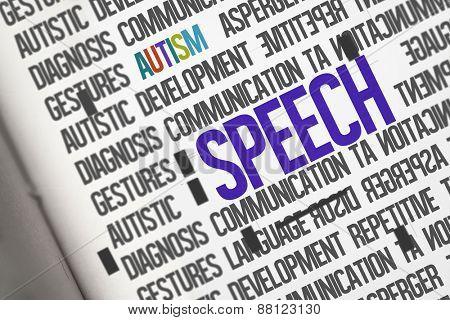 The word speech against open book