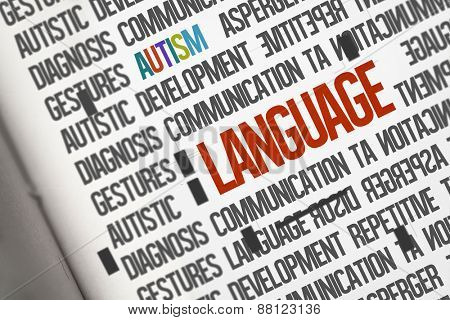 The word language against open book