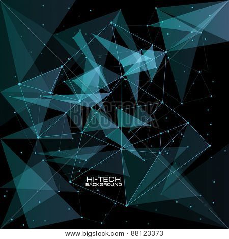 futuristic user interface. Abstract polygonal space low poly dark background with connecting dots and lines. Vector science background. Polygonal vector background. Futuristic HUD background.