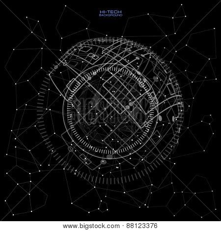 black and white futuristic user interface. Abstract polygonal space low poly dark background with connecting dots and lines. Connection structure. Polygonal vector background.