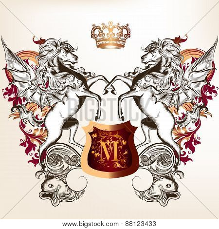 Heraldic Design With Shield, Two Winged Horses And Crown