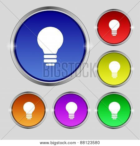 Light Lamp, Idea Icon Sign. Round Symbol On Bright Colourful Buttons. Vector
