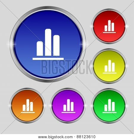Growth And Development Concept. Graph Of Rate Icon Sign. Round Symbol On Bright Colourful Buttons. V