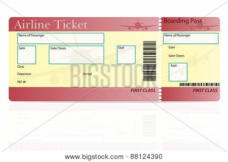 Airline Ticket First Class Vector Illustration