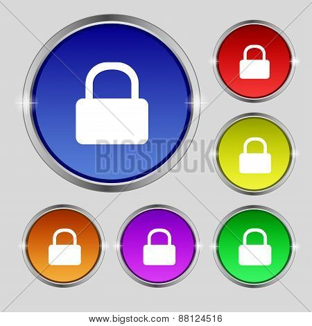 Pad Lock Icon Sign. Round Symbol On Bright Colourful Buttons. Vector