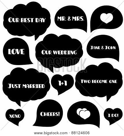 Set of wedding bubbles for photo. Foto tags. Party supplies. Vector illustration.