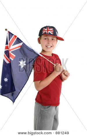 Patriotic Child Holding An Aussie Flag