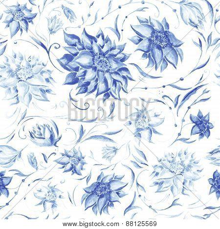 Elegant Pattern with Indigo Flowers