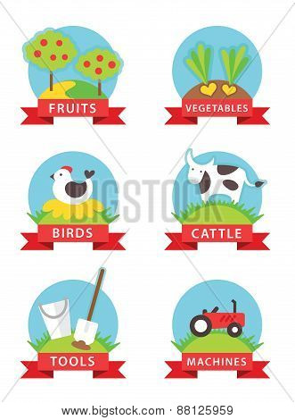 farm and gardening vector icons