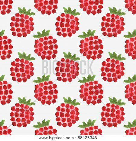 Seamless watercolor pattern with funny raspberries on the white background, aquarelle.  Vector illus