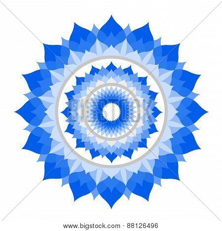 abstract blue mandala of Vishuddha chakra vector