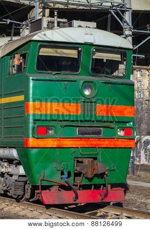 Industrial Green Cargo Train Diesel Locomotive Cabin