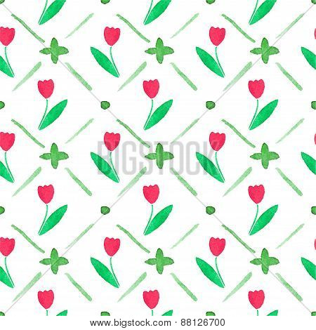 Seamless watercolor pattern with tulips on the white background, aquarelle.  Vector illustration. Ha