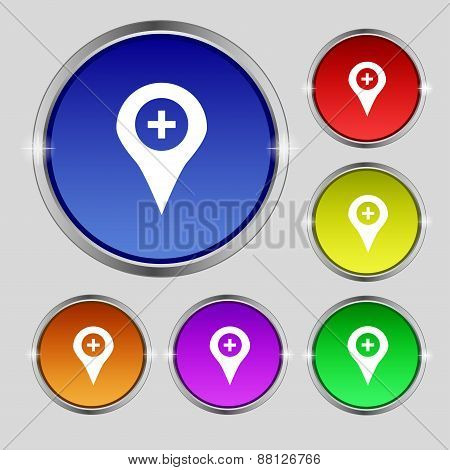 Plus Map Pointer, Gps Location Icon Sign. Round Symbol On Bright Colourful Buttons. Vector