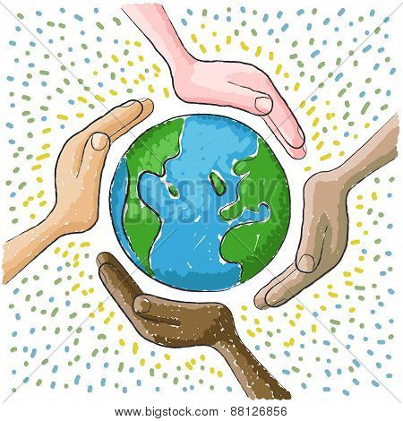 hand around the world