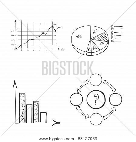 hand draw doodle dot bar pie charts diagrams and graphs