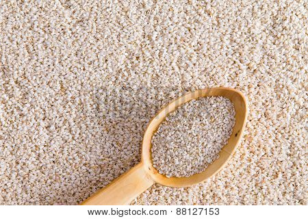 Sesame Seeds With Wooden Spoon Scoopful