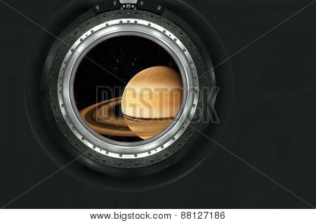 Saturn or alien planet view from spaceship
