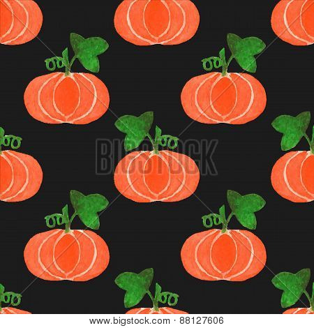 Seamless watercolor pattern with funny pumpkins on the black background, aquarelle.  Vector illustra