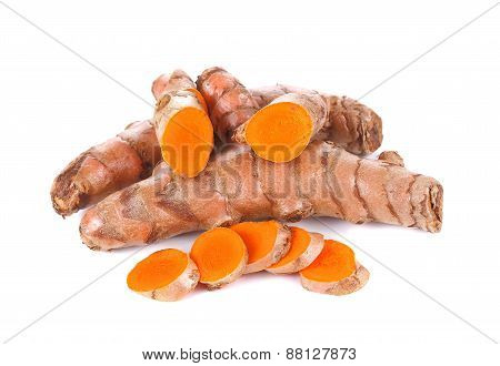 Fresh Turmeric, Curcuma Roots On White Background