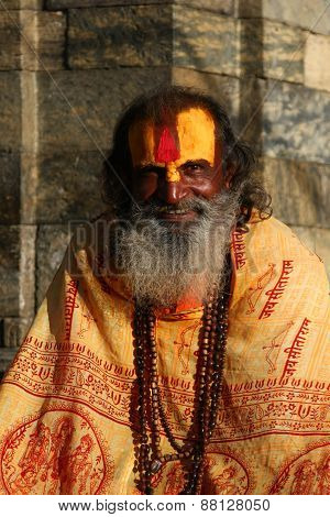 KATHMANDU, NEPAL-DECEMBER, 2009 - An unidentified ascetic or sadhu in pashupatinath temple waiting f