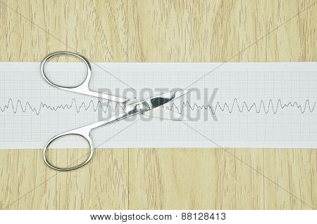 Silver Surgical Scissors Put On Paper Of Heart Line Wave