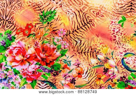 Texture Of Print Fabric Striped Leopard And Flower