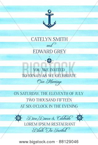 Watercolor marine style wedding invitation