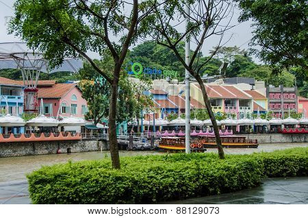 Clarke Quay on the Singapore River is a popular dining and entertainment destination for tourists