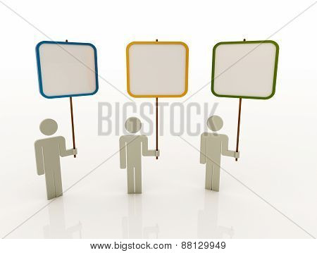 Three People Team Displaying White Placard