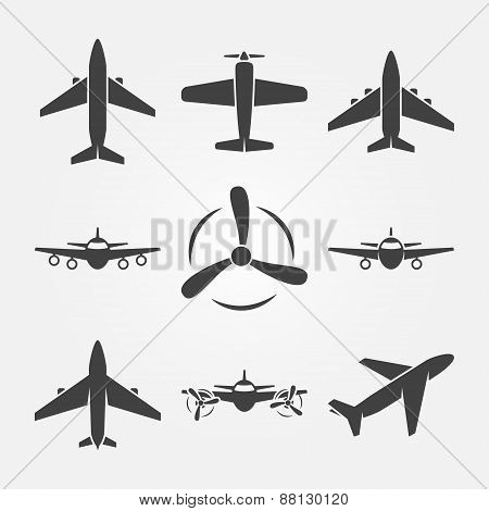Plane black vector icons