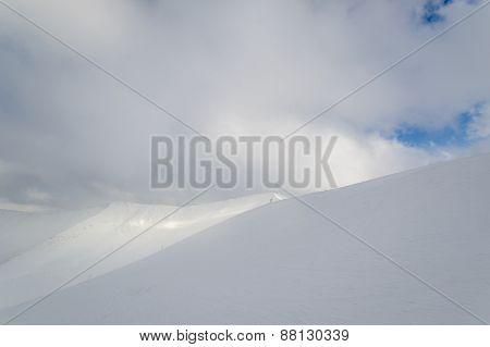 Snowy mountains peak