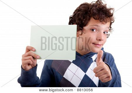 Cute Boy With A Paperboard In Hand, Isolated On White Background. Studio Shot.