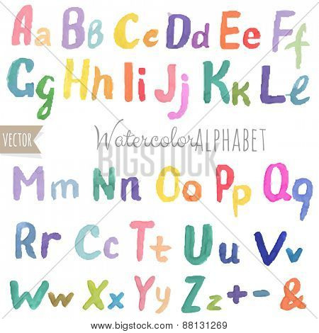 Watercolor Alphabet With Gradient Mesh, Vector Illustration