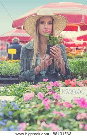 Attractive blonde girl with straw hat holding and smelling flower pot on flower marketplace. Post processed with vintage filter.