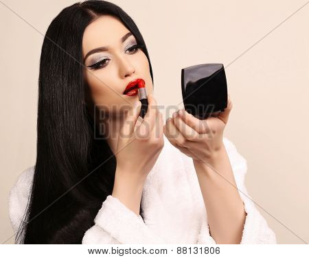 Beautiful Sensual Woman With Long Dark Hair And Bright Makeup