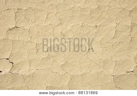Cracked Mud Plaster Wall Closeup