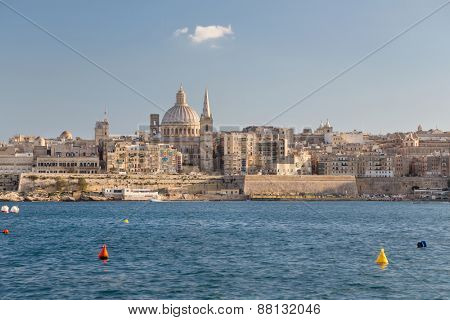 Seaside view on Valletta Grand harbor, Malta.
