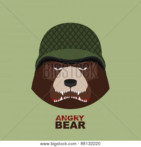 Angry bear head mascot. Bear head logo for Hockey Club