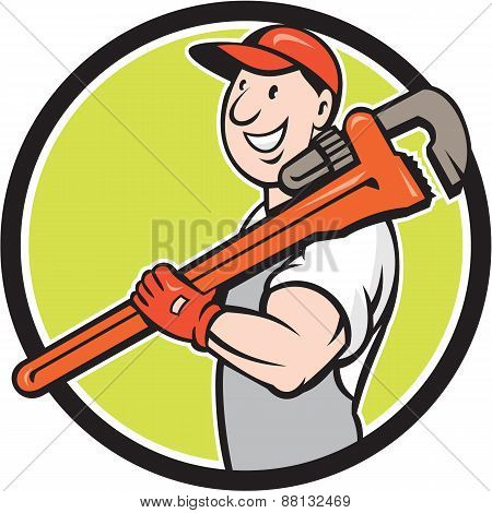 Plumber Smiling Holding Monkey Wrench Circle Cartoon