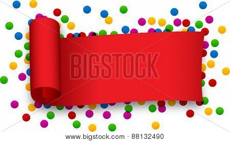 Red curled ribbon over confetti. Vector illustration.