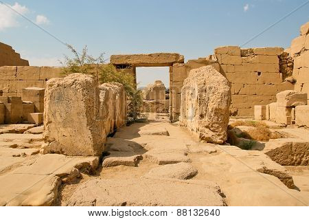 Ancient Ruins Of Karnak Temple In Egypt.