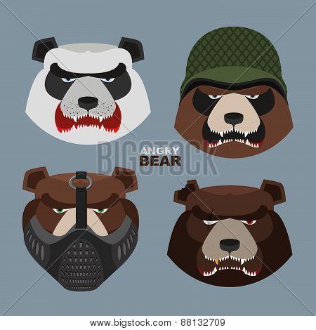 Angry bear head mascot. Bear head logo for Hockey Club